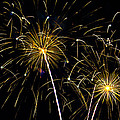 Moon Over Golden Starburst- July Fourth - Fireworks by Penny Lisowski