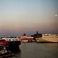 Moon Over Piraeus Port by Lorraine Devon Wilke
