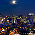 Moon Over Portland Oregon City Skyline At Blue Hour by Jit Lim