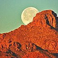 Moon Over Tucson Mountains by John Wanserski