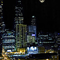 Moon Rise Over Downtown Chicago And The Willis Tower #2 by Jennifer Rondinelli Reilly - Fine Art Photography