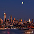 Moon Rise Over Manhattan by Susan Candelario