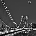 Moon Rise Over The George Washington Bridge Bw by Susan Candelario