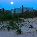 Moon Setting At Beach Plum Island by Robert Pilkington