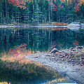 Moon Setting Fall Foliage Reflection by Jeff Folger