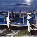 Moonlight Gondolas - Venice by Jon Berghoff