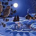Moonlight Magig-great Horned Owls by Don Ningewance