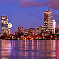 Moonlit Boston On The Charles by Mitchell R Grosky