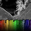 Moonlit Mountainside Behind Rainbow Fence by Michael Hurwitz