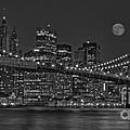 Moonrise Over The Brooklyn Bridge Bw by Susan Candelario