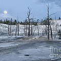 Moonset At Mammoth Terrace-yellowstone by Sandra Bronstein