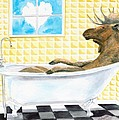 Moose Bath, Moose Painting, Moose Print, Bath Painting, Bath Print, Cottage Art by LeAnne Sowa