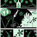 Morioka Montage In Green And Black by Nancy Lorene