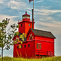 Morning At The Big Red Lighthouse by Nick Zelinsky