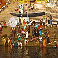 Morning Bathing At Kedar Ghat by C H Apperson