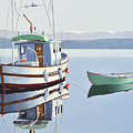 Morning Calm-fishing Boat With Skiff by Gary Giacomelli