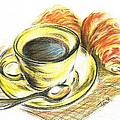 Morning Coffee- With Croissants by Teresa White