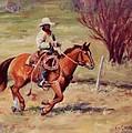 Morning Commute Working Cowboy Western Art by Kim Corpany