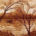 Morning Fishing Original Coffee Painting by Georgeta Blanaru
