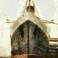 Morning Fog Queen Mary Ocean Liner Bow 03 Long Beach Ca Photo Art 02 by Thomas Woolworth