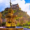 Morning In The Gardens Below Edinburgh Castle by Mark E Tisdale