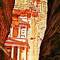 Morning View Of The Treasury From The Gorge In Petra-jordan  by Ruth Hager