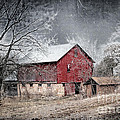 Morris County Red Barn In Snow by Sharlotte Hughes