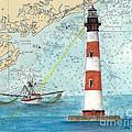 Morris Island Lighthouse Sc Nautical Chart Map Art by Cathy Peek