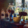 Mortar And Pestle And Bottles By Window by Susan Savad