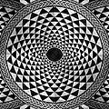 Mosaic Circle Symmetric Black And White by Tony Rubino