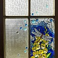 Mosaic Stained Glass - Dragonfly In The Window by Catherine Van Der Woerd