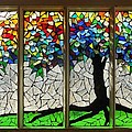 Mosaic Stained Glass - Roots by Catherine Van Der Woerd