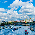 Moscow Kremlin And Busy River Traffic by Alexander Senin