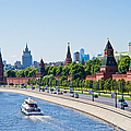 Moscow River And Kremlin Embankment In Summer - Featured 3 by Alexander Senin