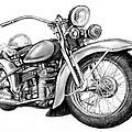 Motercycle Drawing Art Sketch - 4 by Kim Wang