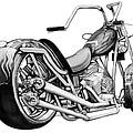 Motercycle Drawing Art Sketch - 5 by Kim Wang