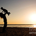 Mother And Child Silhouette by Cindy Singleton