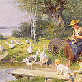 Mother And Child With Geese by Adolf Ernst Meissner