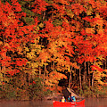 Mother And Son Canoeing Near Fall by Jose Azel