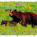 Mother Bear And Cub In Meadow by Jerry Cowart