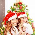Mother With Daughter Celebrate Christmas by Anna Om