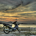Motorbike At Sunset by Michelle Meenawong