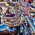 Motorcycle Helmet And Flag by Eleanor Abramson