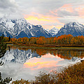 Mount Moran Reflection Sunset by Ed  Riche
