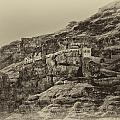 Mount Of The Temptation Monestary Jericho Israel Antiqued by Mark Fuller