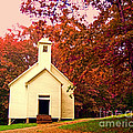 Mountain Church In Fall by Desiree Paquette