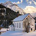 Mountain Church In The Alps - Baad Kleinwalsertal Austria In Winter by Matthias Hauser