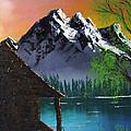 Mountain Lake Cabin W Eagles by Marianne NANA Betts