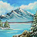 Mountain Lake In Winter Original Painting Forsale by Bob and Nadine Johnston