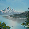 Mountain Lake Painting A La Bob Ross by Bruno Santoro